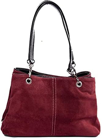 Italian Burgundy Suede Shoulder Bag With 3 Compartments