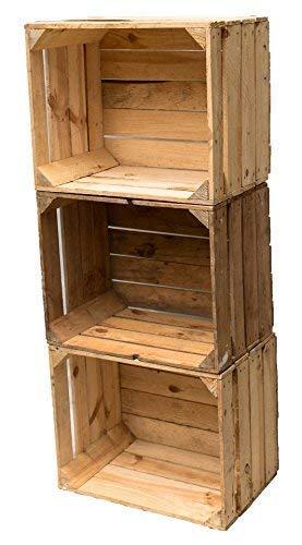 Gebrauchte Holzkisten im Set Angebot: Originale Vintage Obstkisten zum Möbelbau od. als Dekoration, sehr stabile Apfelkisten, geprüft und gereinigt 50x40x30 cm (6er Set) - 2