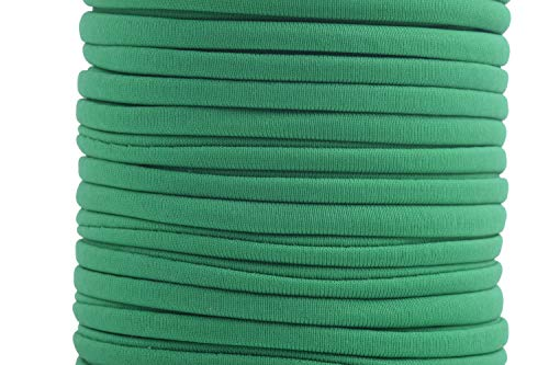 KONMAY 1 Roll 20 Yards 5.0mm Flat Soft Skinny Elastic Cord from Spanex and Nylon Fabric Stitched Stretchy Lycra Cord (Kelly Green)