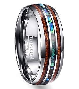 Ring für Hochzeit, Verlobung, Partnerschaft, Nuncad Wolfram Unisex Ring 8mm breit silber mit Hawaii Koaholz und Abalone-Muschel, Comfort-Fit Design, Größe 58