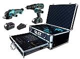 Coffret Perceuse visseuse percussion + meuleuse 20V avec 2 batteries Li-Ion (2Ah & 4Ah ) + 110 accessoires Silex
