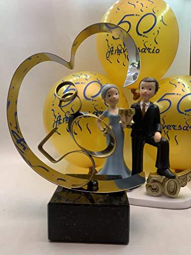 Regalo bodas de oro, figura tarta 50 aniversario y globos decoración PACK personalizado