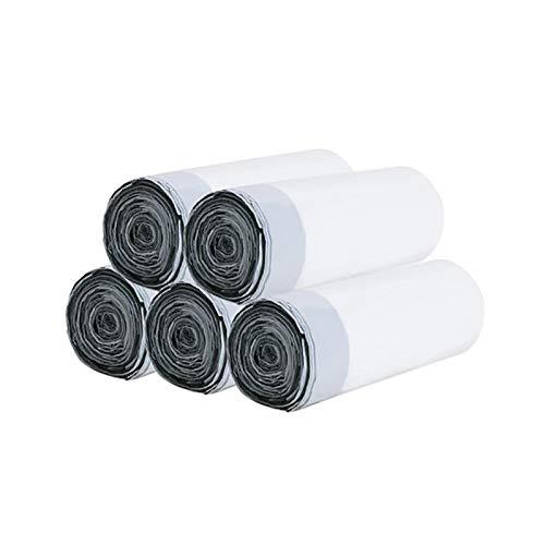 Double Nice Müllsack groß 100/60pcs Einweg-Müllsäcke Kordelzug-Küchen-Müll-Tasche tragbare Einweg-Haushalts-Plastiktasche müllsack schwarz (Color : White 5 roll 100pcs)