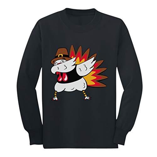 Tstars - Thanksgiving Funny Turkey Dab Dabbing Youth Kids Long Sleeve T-Shirt Medium Black