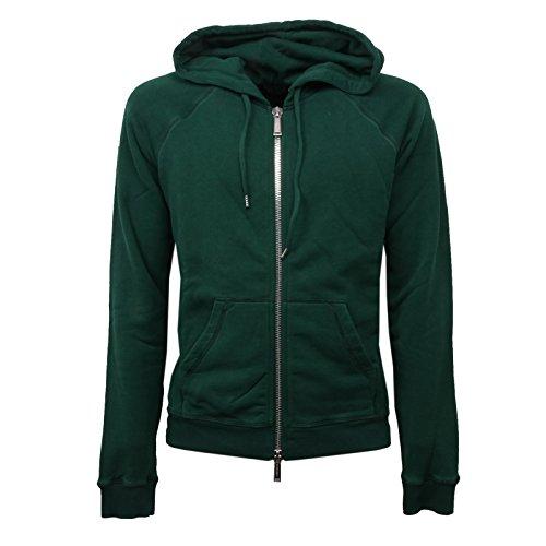 DSquared C0868 Felpa uomo Verde Vintage Effect con Zip Sweatshirt Men