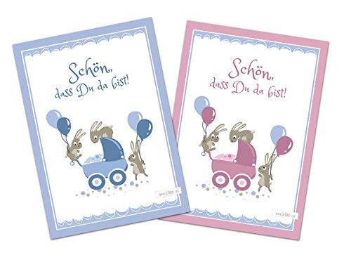 Glückwunschkarte zur Geburt - Schön, dass du da bist - Hasen - Set zu 10 Stück - 5 Mädchenkarten und 5 Jungenkarten - Illustration - Postkarte Glückwünsche