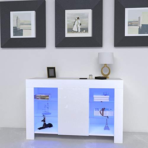 Table console blanche brillante - LED bleue - Montage facile - Pour salon, couloir