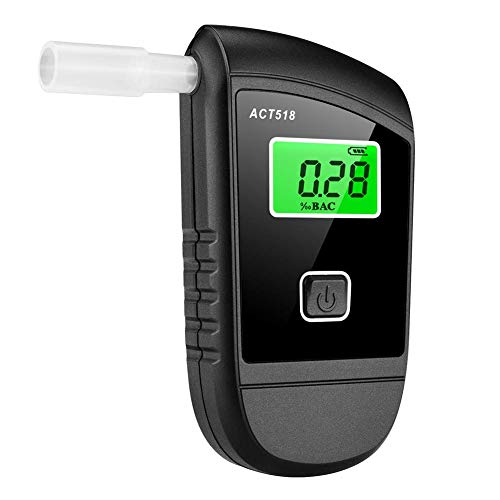 Portable Breathalyzer- ACT518 Alcohol Tester Semiconductor Professional Sensor Digital LCD Display Alcohol Detector w/ 5pcs Mouthpieces, Blowing Alcohol Test Meter for Drivers Or Home Use