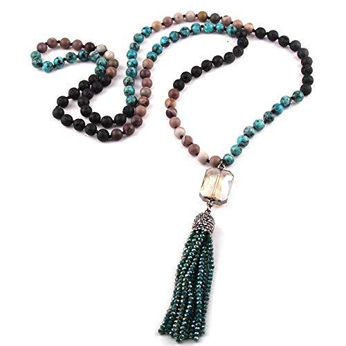 guodong Joyería De Moda 108 Cuentas De Múltiples Piedras Anudadas Cristal Enlace Borla Colgante Collar Mujeres Yoga Collar Regalo del Día De La Madre