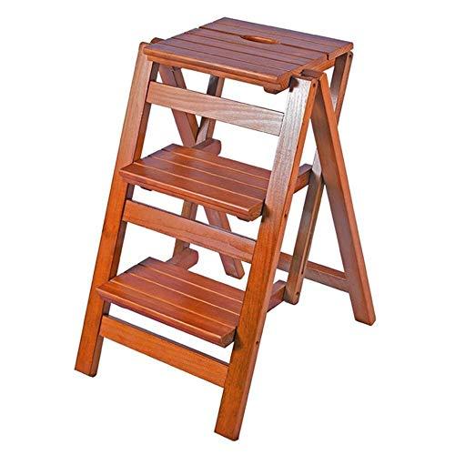 Echelle Escabeau Marches Pliantes Mangeoire Ladder Tabourets 3 Niveau Multifonction Étape Tabouret Fleur étagère à Chaussures Banc étagère de Rangement QIQIDEDIAN (Color : Light Walnut Color)