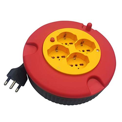 Enrollacables doméstico 4 tomas, cable H05VV-F3G1.0MM2, 5M, CE