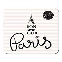 おしゃれ防傷マウスパッドは、エッフェル塔で描かれたフランスの手にサインしますパリの芸術的なマウスマットを描くパリのノートブックデスクトップコンピュータに適したおしゃれ防傷マウスパッド