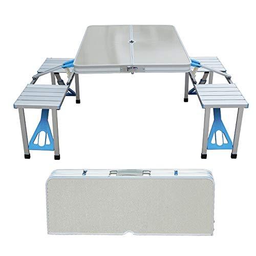 PULLEY-C Mesa plegable de camping con altura ajustable, mesa de picnic plegable para exteriores, cocina, jardín, fiestas, mesa y silla de aleación de aluminio gruesa, mesa de barbacoa portátil C