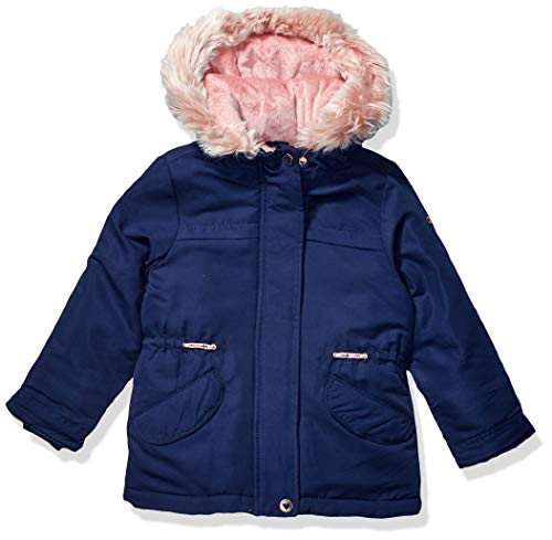 Osh Kosh Girls' Little Pretty Cool Parka Jacket, Navy/Gentle Blush, 6X