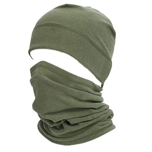 Skull Cap Helmet Liner Neck Gaiter Set,Cycling Running Beanie Caps for Men Women Army Green