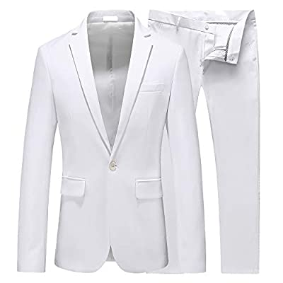 UNINUKOO Mens Slim Fit 2 Piece Single Breasted Jacket Party Prom Tuxedo SuitsUS Size 40 (Label Size 4XL) White by UNINUKOO