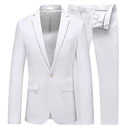 UNINUKOO Mens Slim Fit 2 Piece Suit Single Breasted Jacket Party Prom Tuxedo PantsUS Size 38 (Label Size 3XL) White
