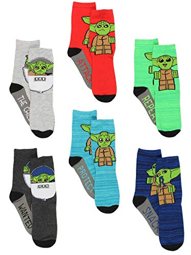 Lego Star Wars Baby Yoda Kids Toddler 6 pack Crew Socks Set (Small (4-6), Multi)