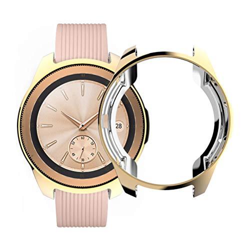 HEMOBLLO 2pcs Electroplate TPU Reloj Protector de Pantalla Caso de Parachoques Anti-caída para Relojes sumsung Oro/Plata
