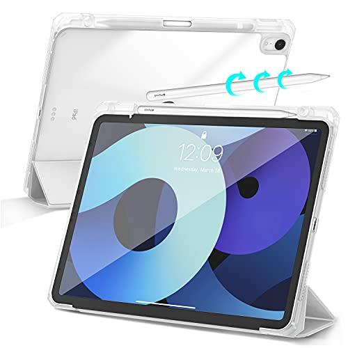 Gahwa Funda para iPad Air 4 2020 10.9 Pulgadas con Soporte Integrado para Pencil, Trasera Transparente Ultra Delgado Carcasa con Despertar/Dormir Auto, Case Cover con Función Soporte - Gris