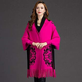 Winter Long Scarf Shawl Jacket with Sleeve Scarf Autumn and Winter Double Cloak Cloak Female (Color : Pink) Winter Soft Scarf (Color : Pink)