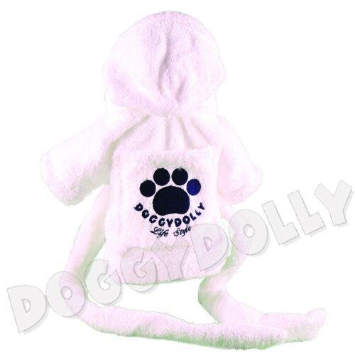 Doggydolly Hunde-Bademantel weiß Mops, Bulldogge Frottee
