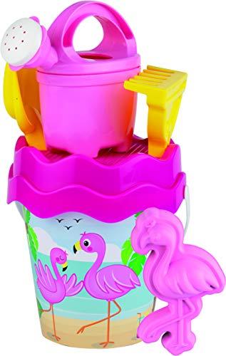 Simba 107114406 - Flamingo Eimergarnitur, 6 Teile, Eimer, Sieb, Sandform, Schaufel, Rechen, Gießer, Höhe 16cm, Durchmesser 17cm