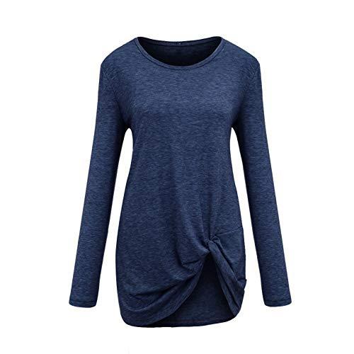 Janly Clearance Sale Tops para mujer, de manga larga suelta con cuello en O, camiseta de manga larga, blusa de manga larga, jersey suelto para Navidad (azul oscuro-M)