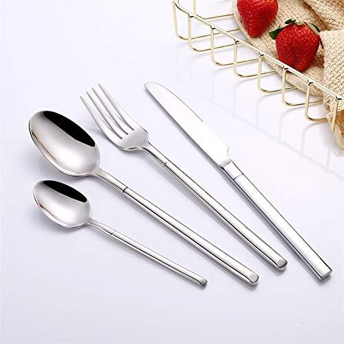 Espejo oro acero cubiertos conjunto vajilla tenedor cuchara cuchilla conjunto occidental restaurante de acero inoxidable vajilla cuchara y tenedor conjunto (Color : LF7silver1set)