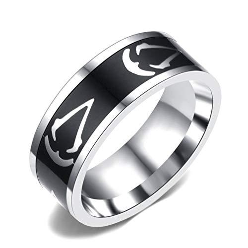 Sping Jewelry Anillo de acero inoxidable con símbolo de Assassin's Creed, tamaño 7 a 13 plateado