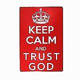 LPLED Keep Calm and Trust God Retro Vintage Decor Metal Tin Sign 12 X8 Inches Garage Wall Art Sticker (M0081)