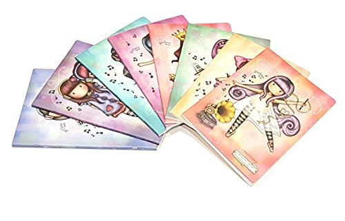 QUADERNONI Gorjuss Compatibile Con Santoro London 4 pezzi SCUOLA a righe 1R con copertina in PPL + Omaggio penna multicolore profumata + portachiave con paillettes