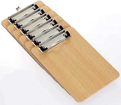 LATERN 6 Stücke A4 Klemmbretter, Low Profile Clip Hartfaserplatte mit stabilem Federgriff und verdecktem Aufhängeloch, strapazierfähige Holzklemmbretter für Büroarbeiten