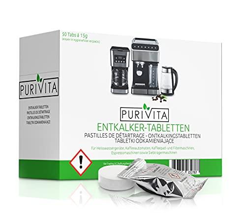 Purivita - Tabletki odkamieniające – do ekspresów do kawy i automatów do kawy opakowanie 50 szt
