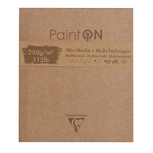 Clairefontaine 975175C Block Paint'On (50 Blatt, kopfseitig geleimt, 250g, 13,3 x 15,7cm) 1 Stück farbig sortiert