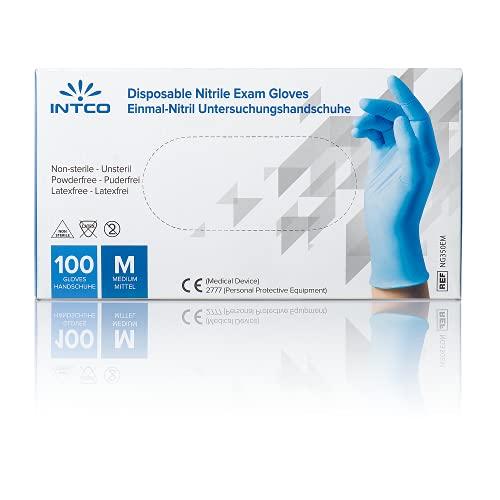 INTCO Guanti nitrile - Qualita' Premium Medicali Certificati, dentisti, Centri Sanitari - Confezione da 100 pz. (100, XL)