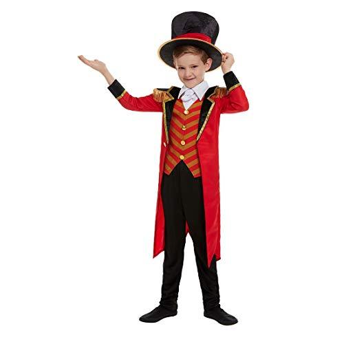 Amakando Elegante Disfraz de Circo domador para niño/Negro-Rojo L, 10-12 años, 145-158 cm/Genial Uniforme de Circo domador de Leones/El Punto Alto para Festival y Fiestas temáticas