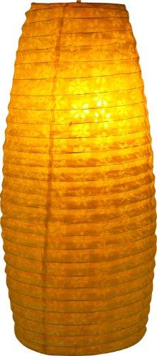 Guru-Shop Pequeña Pantalla Ovalada de Papel Lokta, Lámpara Colgante Corona - Amarillo, PapeldeLokta, 42x22x22 cm, Lámparas de Techo Asiáticas Lámparas de Papel Tela