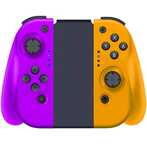 YHT Wireless Joy Pad Controller for Nintendo Switch, Replacement with Redesigned Ergonomic Hand Grip Comfortable Handheld Gamepad Remote(Purple&Yellow)