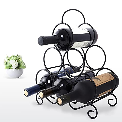 Tabletop Wine Rack, 6 Wine Bottle Holder Stand for Counter, No Assembly Required Small Metal Wine Rack Countertop, Freestanding Black Wire Wine Bottle Storage Rack, Wine Organizer for Shelf Insert