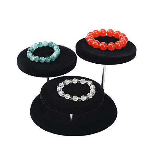 JY Relojes de pulsera Organizador de almacenamiento de joyas Soporte de exhibición con 3 bandejas, pendiente de terciopelo suave Estante de soporte de exhibición de collar de jade f
