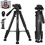 KINGJUE 66-inch Camera Tripod for Canon Nikon Lightweight Aluminum Travel DSLR Camera Stand with Carry Bag Universal Phone Mount and Bluetooth Remote Max Load 5kg
