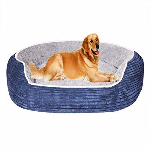 miaosss hoogwaardige warmte hondenbed gestreepte pluche orthopedische hondensofa wasbare pluche hondenmand met afneembare overtrek hondenkussen, antislip Blue-L