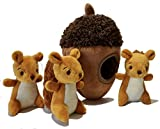 MODERN WAVE - Squeaky Plush Dog Toy - Interactive Hide and Seek Squirrel Type Puzzle Toy for Dogs, Small Size (Nut and Squirrels)