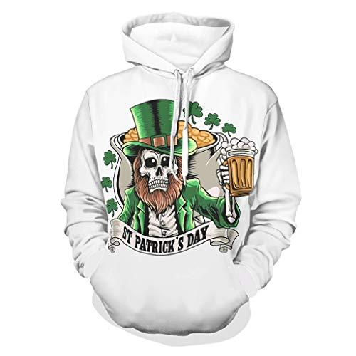 St. Patrick - Sudadera con capucha para hombre con diseño de calavera y trébol de manga larga y bolsillos blanco XXL