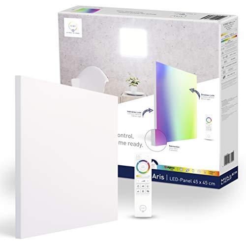 tint von Müller-Licht Smartes LED-Panel Aris quadratisch 45x45cm & rahmenlos, white+color (Weißtöne & farbiges Licht), direktes + indirektes Licht, 1700 lm, Zigbee, inkl. Fernbedienung, 404046