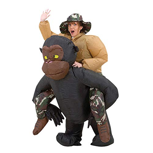 MSQL Halloween Aufblasbares Kostüm, Ride on Gorilla Kostüm Aufblasbarer Affen Anzug, Halloween Karneval Party Cosplay Anzug, Uneingeschränkte Bewegungsfreiheit