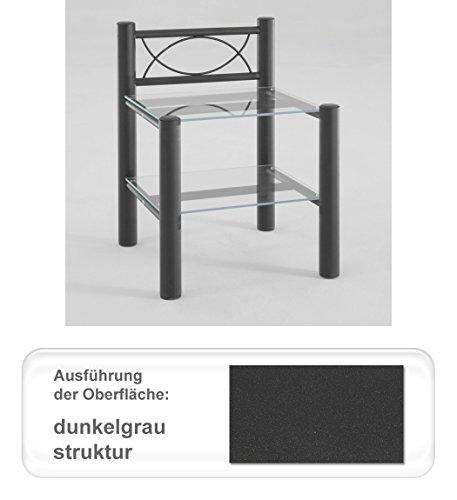 expendio Nachttisch Jan, Verschiedene Varianten, Nachtkonsole Nachtschrank Beistelltisch für Metallbett, Farben:dunkelgrau Struktur