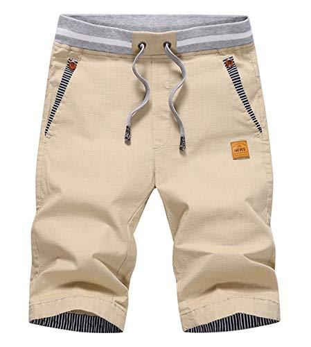 CLOUSPO Herren Shorts Bermuda Shorts Chino Shorts Sommer Kurze Hosen (EU M/CN 3XL, Khaki)