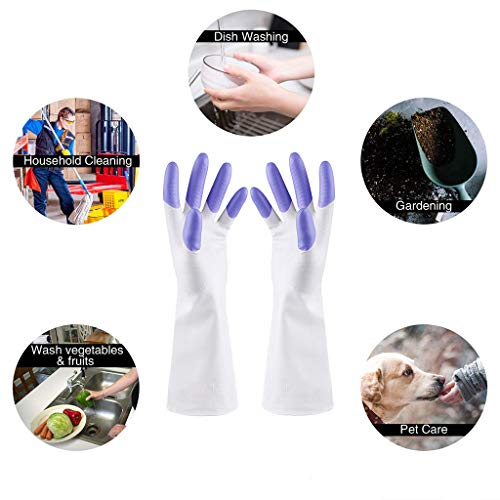 Hunpta 1 paire de gants en caoutchouc imperméables sans latex pour la cuisine violet